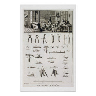 A shoe and bootmaker and their tools, from the 'En Poster