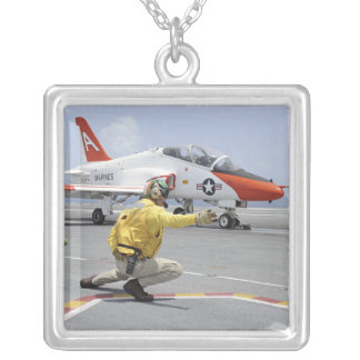 A shooter aboard the aircraft carrier silver plated necklace