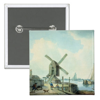 A Shore Scene with Windmills and Shipping 15 Cm Square Badge