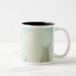 A Shore Scene with Windmills and Shipping Two-Tone Coffee Mug