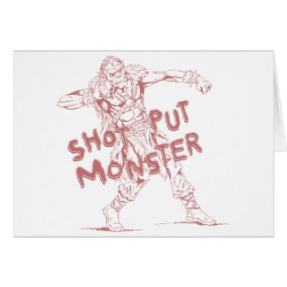 a shot put monster greeting card