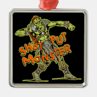 a shot put monster Silver-Colored square decoration