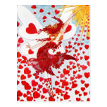 A Shower of Red Hearts from the Valentine's Fairy Postcard