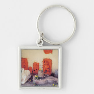 A shrine of a chapel on the Ganges Silver-Colored Square Key Ring