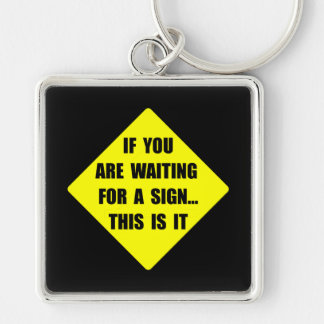 A Sign Silver-Colored Square Key Ring