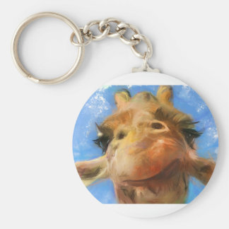 a silly face basic round button key ring