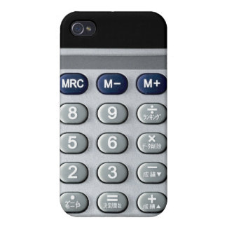 A silver calculator case for iPhone 4