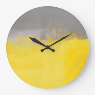 'A Simple Abstract' Grey and Yellow Art Clock
