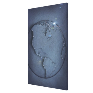 A simple blue global map of the earth showing canvas print