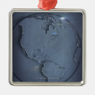 A simple blue global map of the earth showing christmas ornament