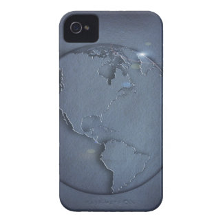 A simple blue global map of the earth showing iPhone 4 case