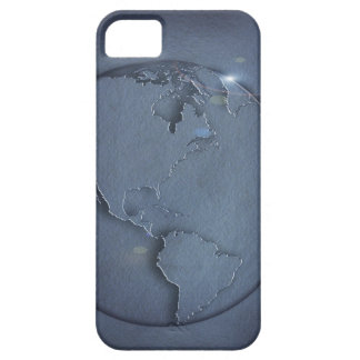 A simple blue global map of the earth showing iPhone 5 case