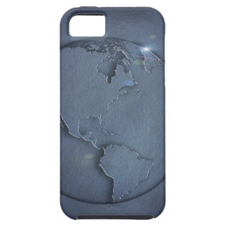 A simple blue global map of the earth showing iPhone 5 covers