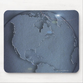A simple blue global map of the earth showing mouse mat