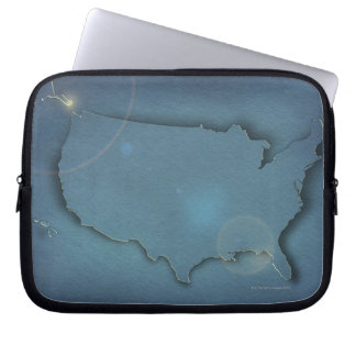 A simple blue map of the USA showing Alaska and Laptop Sleeve