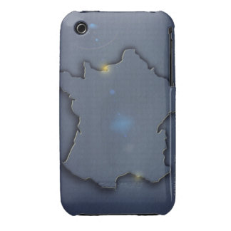 A simple blue map showing the of the outline of Case-Mate iPhone 3 cases