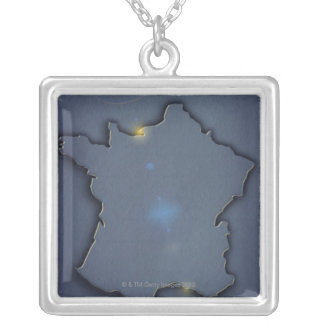 A simple blue map showing the of the outline of silver plated necklace