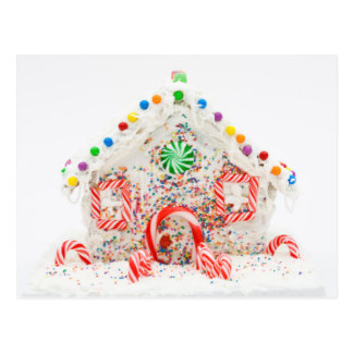 A simple home made gingerbread house postcard