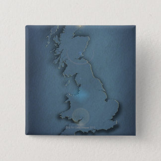 A simple map of the British Isles with sunset 15 Cm Square Badge