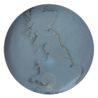 A simple map of the British Isles with sunset Plate