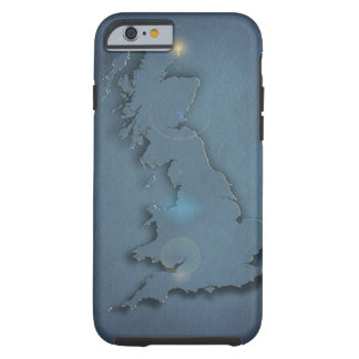 A simple map of the British Isles with sunset Tough iPhone 6 Case