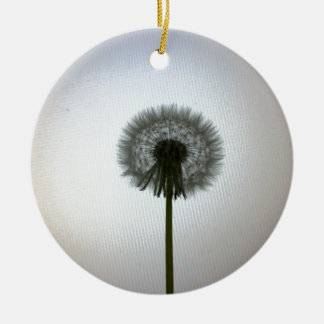 A Single Dandelion Against a White Backdrop Round Ceramic Decoration