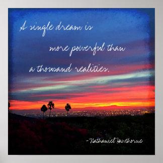 """""""A Single Dream"""" Quote Orange & Blue Sunrise Photo Poster"""