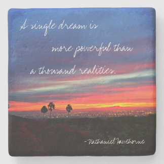 """A Single Dream"" Quote Orange & Blue Sunrise Photo Stone Coaster"