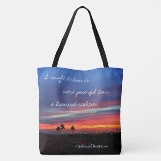 """""""A single dream"""" quote orange & blue sunrise photo Tote Bag"""