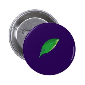 A Single Green Leaf 6 Cm Round Badge