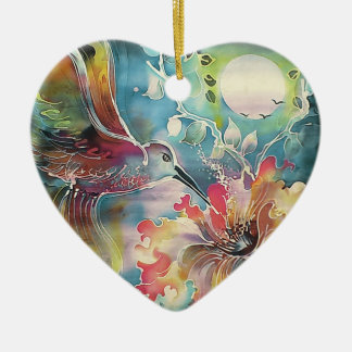 A Single Hummingbird Ceramic Heart Decoration