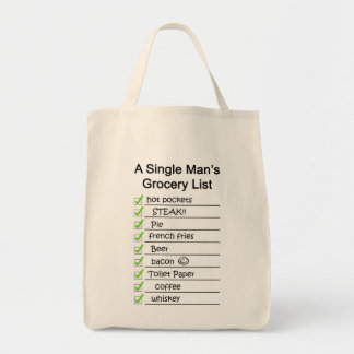 A Single Man's Grocery List Tote Bags