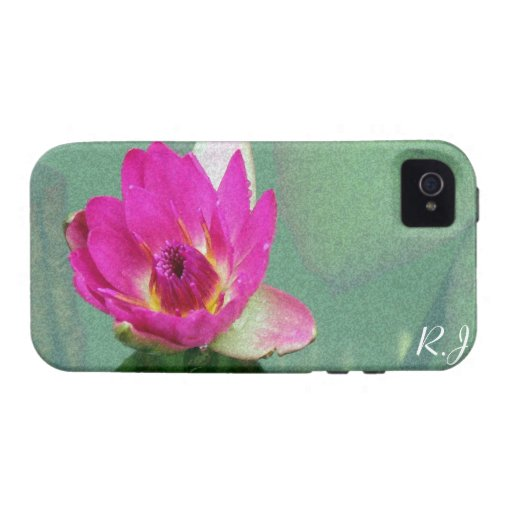 A single pink waterlily in a pond iPhone 4 case