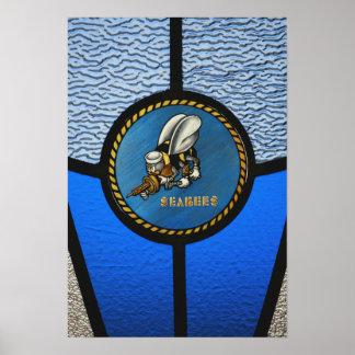 A single Seabee logo Print