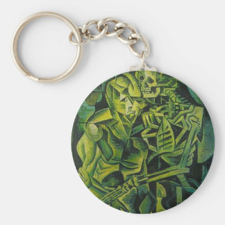 A Skeleton Embracing A Zombie Halloween Horror Basic Round Button Key Ring