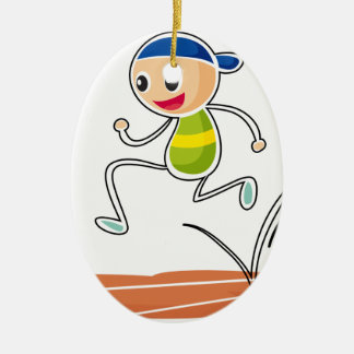 A sketch of a boy running ceramic oval decoration