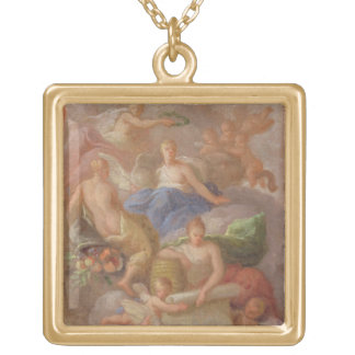 A Sketch of Gratitude Crowned by Peace, with Other Gold Plated Necklace
