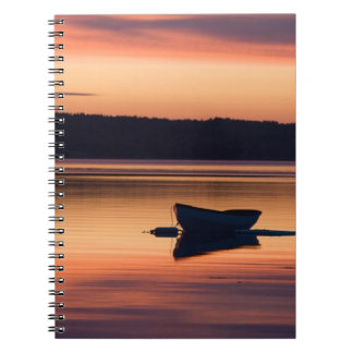 A skiff at sunrise in Eggemoggin Reach in Little Notebook
