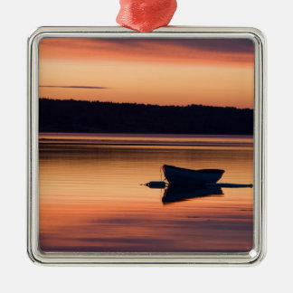 A skiff at sunrise in Eggemoggin Reach in Little Silver-Colored Square Decoration