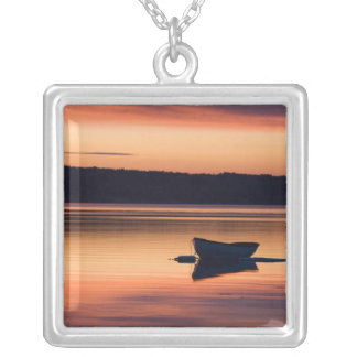 A skiff at sunrise in Eggemoggin Reach in Little Silver Plated Necklace