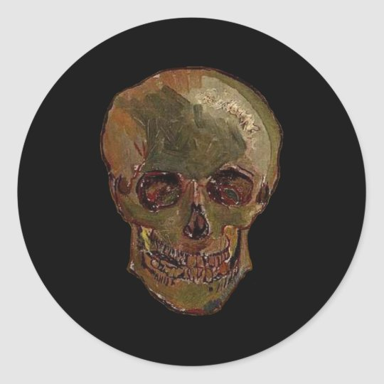 A Skull by Vincent van Gogh Classic Round Sticker