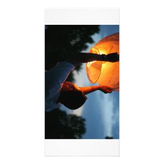 A sky lantern photo greeting card