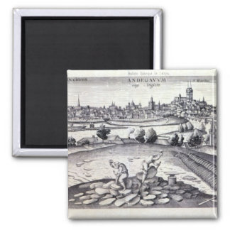 A Slate Quarry in Angers, 1561 Square Magnet