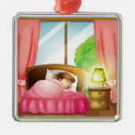 A sleeping girl on a bed Silver-Colored square decoration