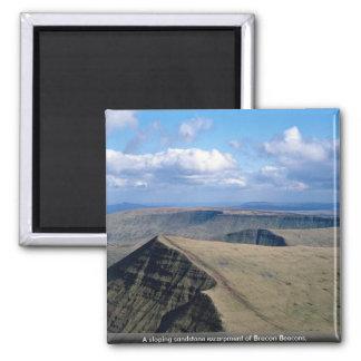 A sloping sandstone escarpment of Brecon Beacons Fridge Magnets