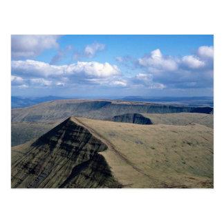 A sloping sandstone escarpment of Brecon Beacons, Postcard