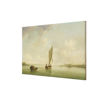 A Smack Under Sail in a Light Breeze in a River, c Canvas Print