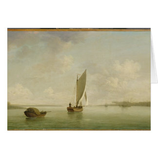 A Smack Under Sail in a Light Breeze in a River, c Card