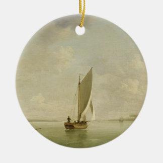 A Smack Under Sail in a Light Breeze in a River, c Round Ceramic Decoration
