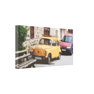 A Small Car Parked in an Italian Old Town Street Canvas Print
